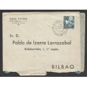 España Carta de Barcelona a Bilbao con Matasello Primer Día