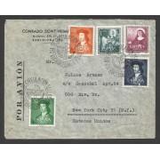 España Carta de Barcelona a Estados Unidos 1952 con Matasello Primer Día