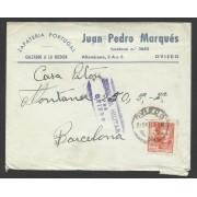 España Carta de Oviedo a Barcelona 1939 Marca Censura Oviedo