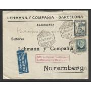 España Carta de Barcelona a Nuremberg 1934 Correo Aéreo