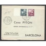 España Carta a Barcelona con Matasello Primer Día 1952