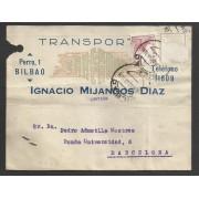 España Postal de Bilbao a Barcelona 1946