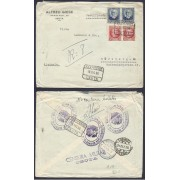 España Carta certificada de Ceuta Nuremberg 1936 Via Lisboa