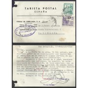 España Postal de San Sebastián a Barcelona 1949