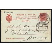 España Spain Entero Postal 47 Matasello 1909 Valencia