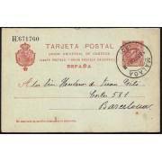 España Spain Entero Postal 47 Matasello 1909 Málaga