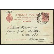 España Spain Entero Postal 47 Matasello 1909 Irún