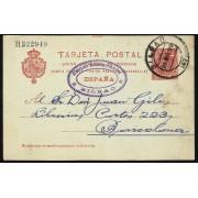 España Spain Entero Postal 47 Matasello 1909 Bilbao