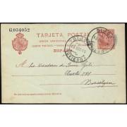 España Spain Entero Postal 47 Matasello 1909 Gijón