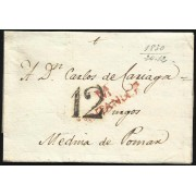España Prefilatelia Carta de Santander a Medina de Pomar 1830