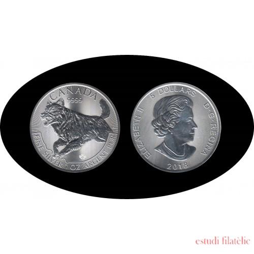 Canadá Canada 2018 1 Oz Plata Silver Ag 5 $  Lobo Wolf