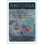 Andorra 2018 Cartera Oficial Coin Card Moneda 2 € conm Derechos Humanos