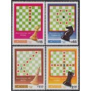 Nicaragua 1286/89 1983 Juego de ajedrez  MNH