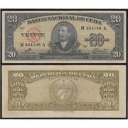 Cuba 20 1960  pesos Billete Banknote circulado