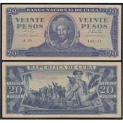 Cuba 20 1964 pesos Billete Banknote circulado
