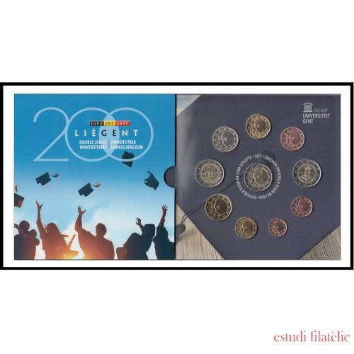 Bélgica 2017 Cartera Oficial Monedas € euro 200 Av. Univ. Gante y Lieja