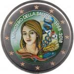 Italia 2018 2 € euros conmemorativos Color Ministerio de Salud