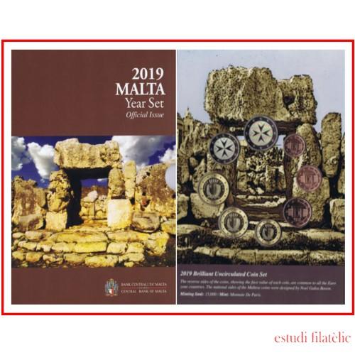 Malta 2019 Cartera Oficial Monedas € euro + 2 euros conm Templos Ta Hagrat