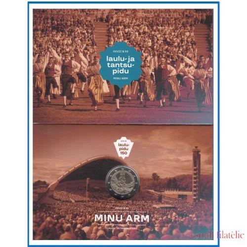 Estonia 2019 Cartera Oficial Coin Card Moneda 2 € conm Festival de la Canción