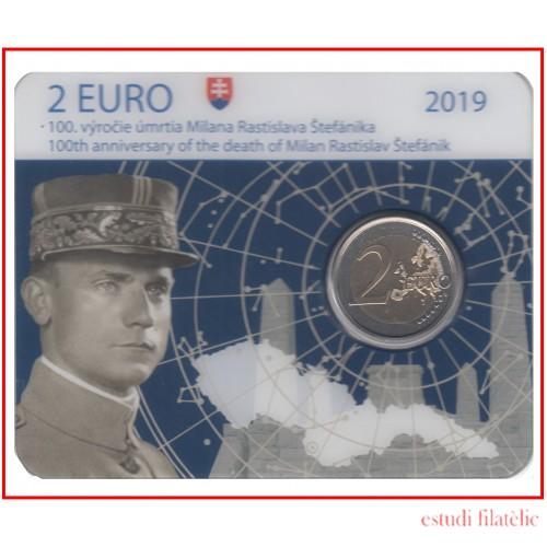 Eslovaquia 2019 Cartera Oficial Coin Card Moneda 2 € conm M. Rastislav Stefánik