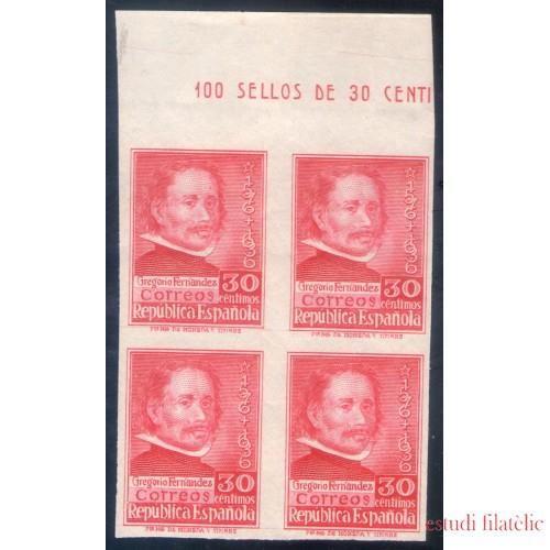 España Spain 726s Bl.4 1937 Gregorio Fernández MNH