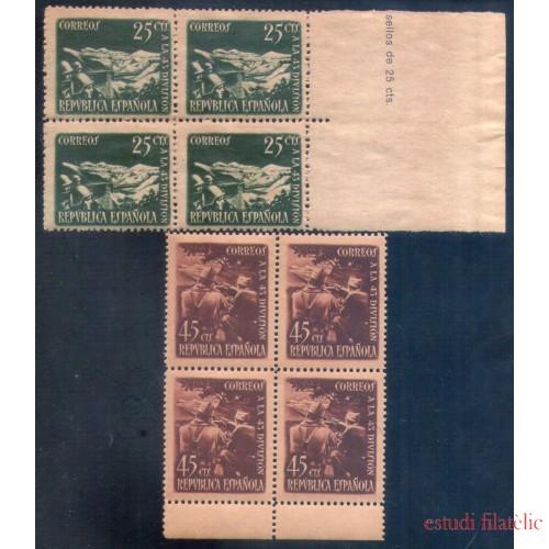 España Spain 787/88 Bl.4 1938 43 División MNH