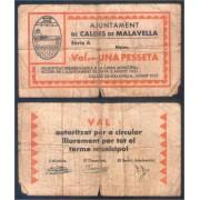 Billete local 1937 Ajuntament de Caldes de Malavella 1 pta