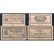 Billete local 1937 Ajuntament de Tarragona  25 cts + 1 Pta