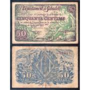 Billete local 1937 Ajuntament de  Sabadell  50 Cts