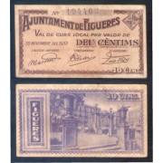 Billete local 1937 Ajuntament de Figueres 10 cts