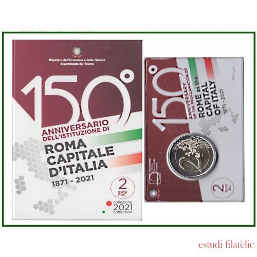 Italia 2021 2 € euros conmemorativos Cartera Oficial Av Roma como capital