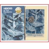 Malta 2021 2 € euros conmemorativos Cartera Oficial Héroes de la Pandemia Tirada: 60000