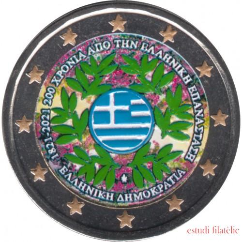 Grecia 2021 2 € euros conmemorativos Color Av. Revolución