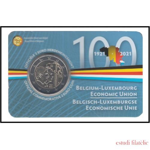 Bélgica 2021 Cartera Oficial Coin Card Moneda 2 € conm BLEU