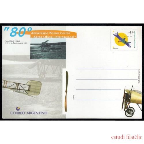 Argentina Tarjeta Postal 1997 80º Aniversario del primer correo Aéreo Internacional