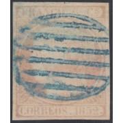 España Spain 12 1852 Matasellos Parrilla azul 85€