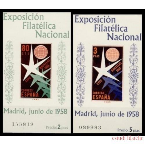 España Spain 1222/23 1958 Exposición Filatélica Nacional Lujo MNH