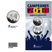 España Spain 2010 Cartera Oficial Moneda 20 euros € Campeones del mundo Fútbol Plata FNMT