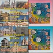 España Spain 2010 2 Carteras Oficicles Euros € Serie Autonomías Castilla León Castilla La Mancha + 2€ con. Mezquita Córdoba + 2 medallas plata escudo