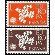 España Spain 1371/72 1961 Europa CEPT  LUJO MNH