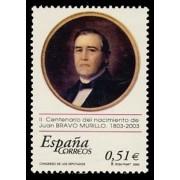 España Spain 3994 2003 II Centenario del nacimeinto de Juan Bravo Murillo 1803 1873, lujo MNH