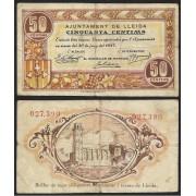 Billete local 1937 Ajuntament de Lleida 50 Cts.