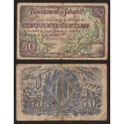 Billetes local 1937   Ajuntament de  Sabadell  50 Cts