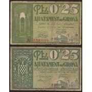 Billete local 1937   Ajuntament de Girona 25 Cts.