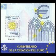 España Spain 4496 2009 X Anivsario de la creación del euro, lujo MNH