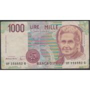 Billete P.114U  Italia 1000 Liras 1990  circulado pliegues y dobleces