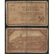 Billete local 1937 Ajuntament de Cervera  50 Cts.
