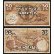 Billetes local 1937  Ajuntament de Pins del Vallés 50 Cts.