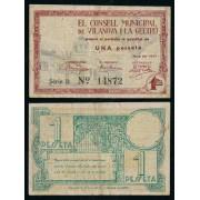 Billete Local  1937   Ajuntament de Vilanova i La Geltrú 1 Peseta