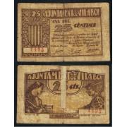Billete local 1937  Ajuntament de Vilaboi 25 Cts